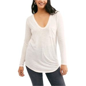 NWT Free People White Betty Long Sleeve Shirt Top